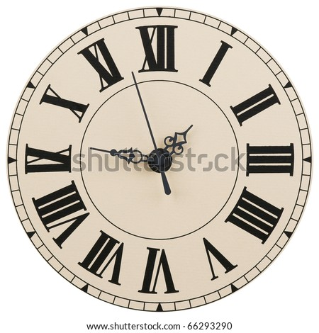 Wall clock with the Roman figures - stock photo