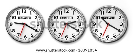 Wall clocks displaying the time of 3 cities around the world - stock photo