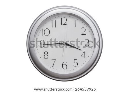 wall clocks Isolated on white background - stock photo