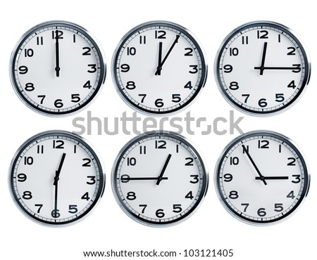 Wall clocks with different time on a dial - stock photo