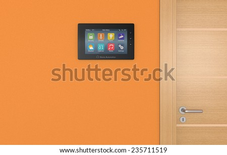 wall control panel for home automation system (3d render) - stock photo