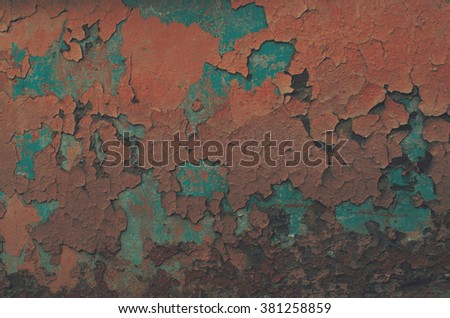 Wall covered rusty paint - stock photo