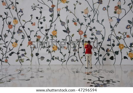 Wall Decoration in Sheikh Zayed Mosque, Abu Dhabi, United Arab Emirates - stock photo