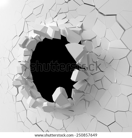 Wall destruction. 3d illustration isolated on white background - stock photo