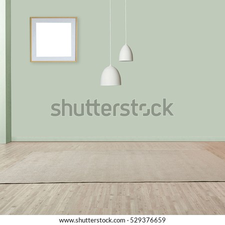 wall empty interior decoration lamp and wooden floor concept, spacious living area decorated with modern carpet designed for the bedroom.