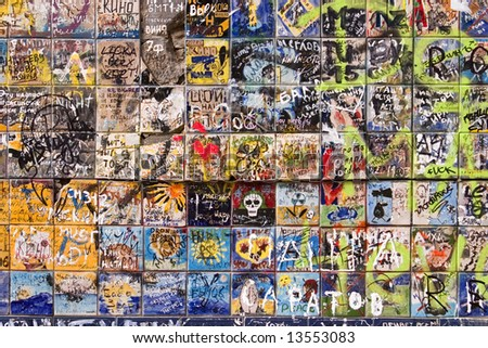 Wall full of graffiti in Moscow - stock photo