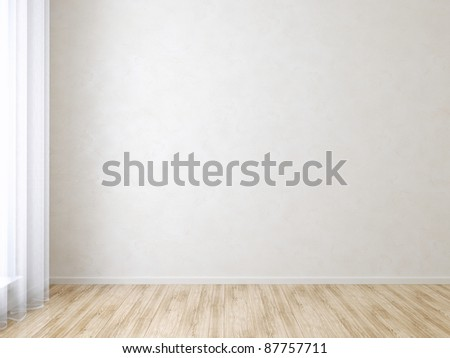 Wall in Empty Room - stock photo