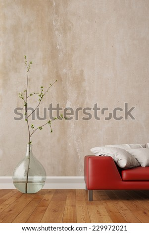 Wall in living room with a red sofa and a vase (3D Rendering) - stock photo