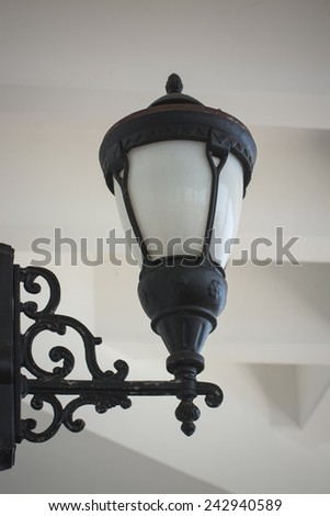 wall lamp with textured background - stock photo