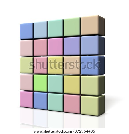 Wall made of colorful boxes. isolated, computer generated image - stock photo