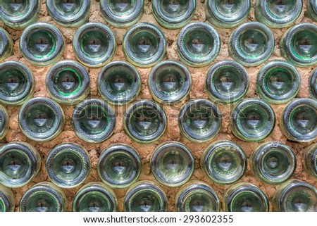 Wall made of empty bottles
