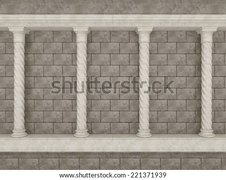 Wall made of stones and ancient columns - stock photo