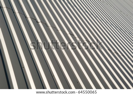 Wall modern buildings recoated metallic grooved sheet - stock photo