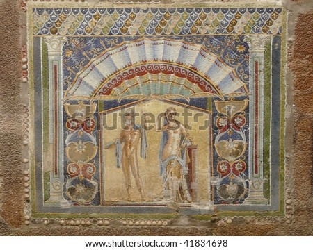 Wall mosaic at the ancient Roman city of Herculaneum, which was destroyed and buried by mud and ash during the eruption of Mount Vesuvius in 79 AD - stock photo