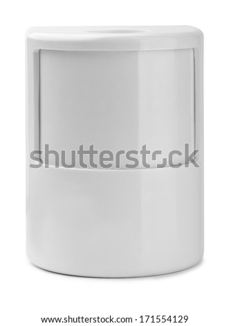 Wall motion detector isolated on white - stock photo