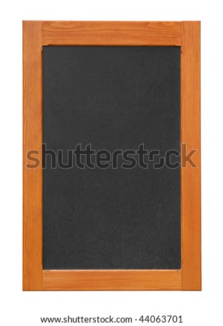 Wall mounted chalkboard isolated on white background - stock photo