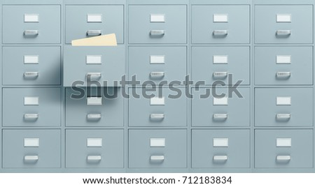 Wall Mounted Filing Cabinets, A Drawer With Files Inside Is Open,  Administration And Business