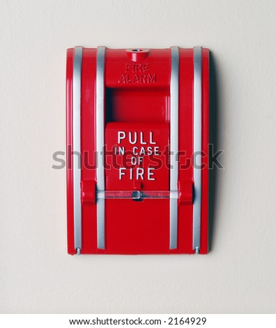 Wall mounted fire alarm. - stock photo