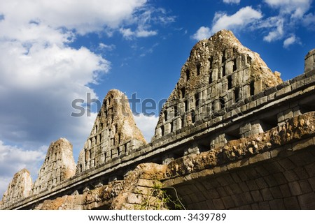 Wall of a Mayan ruins in Cozumel - stock photo