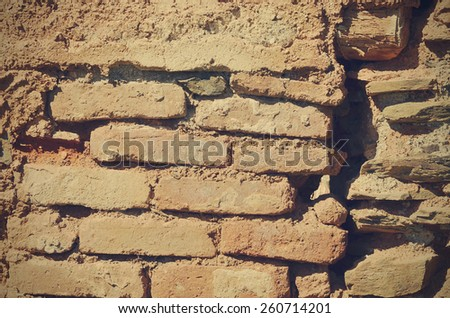 wall of an abandoned house - stock photo