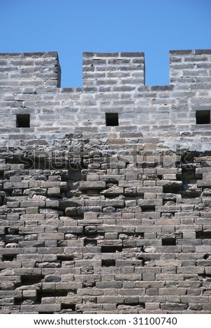 wall of ancient Chinese fort in Beijing