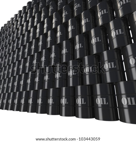 Wall of black oil barrels as monolithic structure from low perspective