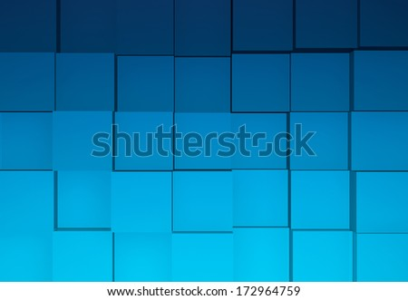 Wall of Blue Cubes Background 3D Illustration
