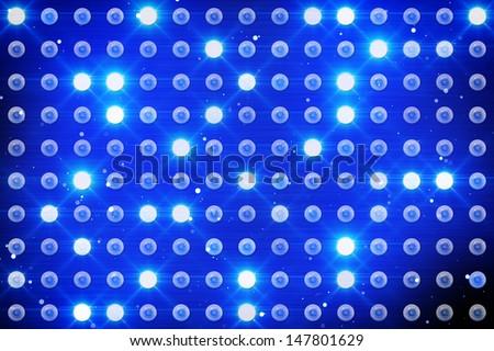 wall of blue lighting bulbs - stock photo