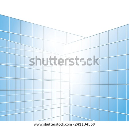 wall of buildings - blue windows - stock photo