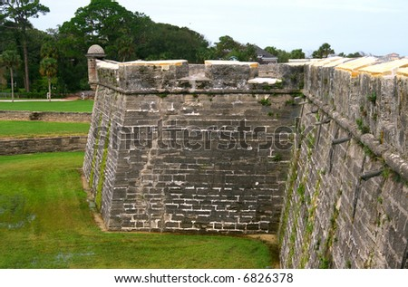 Wall of Castillo de san marco - stock photo