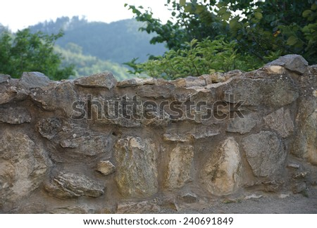 wall of castle ruins in sunny summer  day