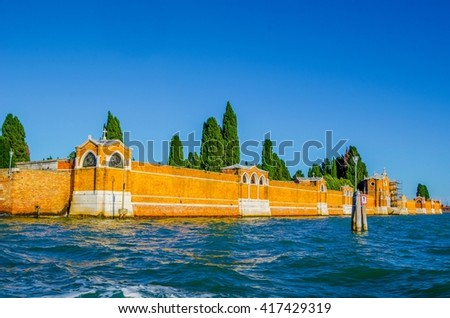 wall of cemetery island of San Michele, Venice, Italy - stock photo
