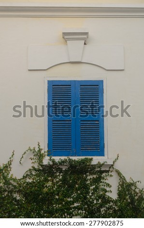 Wall of colonial building in Luang Prabang, Lao - stock photo