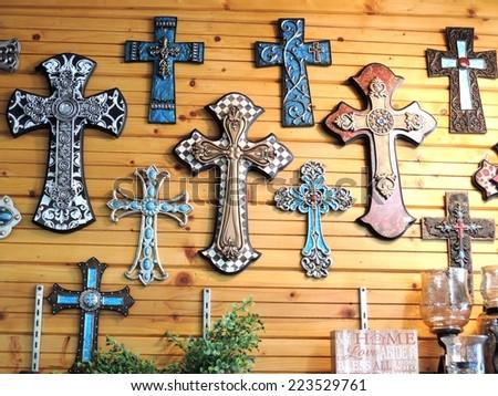 Wall of Crosses - stock photo