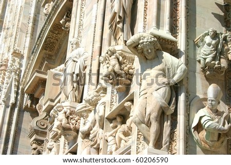 Wall of Duomo in Milan, Italy - stock photo