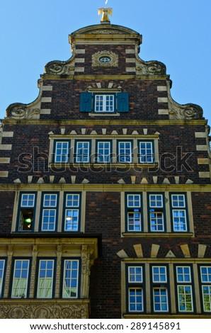 wall of European building in Hamburg, Germany - stock photo