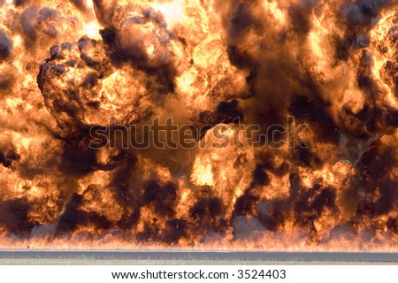 Wall of fire and smoke - stock photo