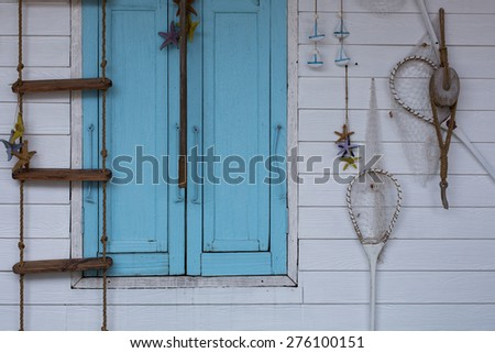 Wall of Fisherman Life - stock photo