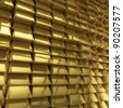 Wall of gold bars - stock photo