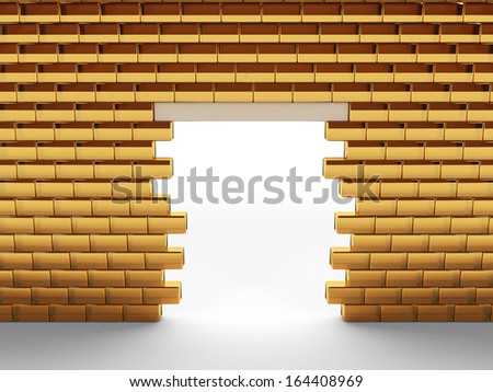 Wall of gold bars 1 - stock photo
