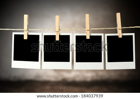 wall of gray and photos  - stock photo