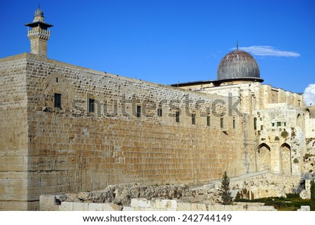 Wall of Great temple in Jerusalem in Israel                                - stock photo