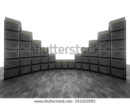 Wall of guitar amps on the background of bright white light - stock photo