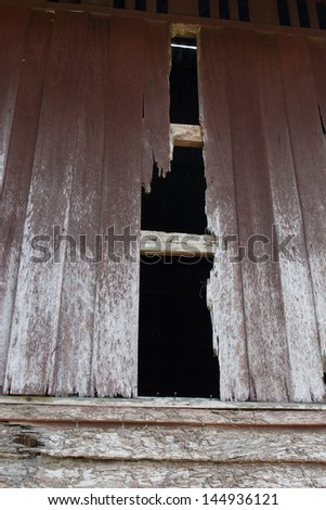 wall of houes destroy by termites - stock photo