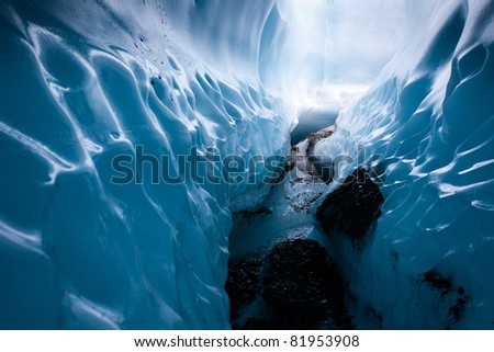 Wall of ice formed inside glacier