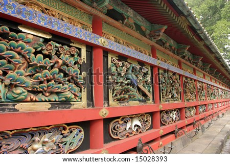 Wall of Japanese Shinto Buddhist Temple in Nikko Japan - stock photo