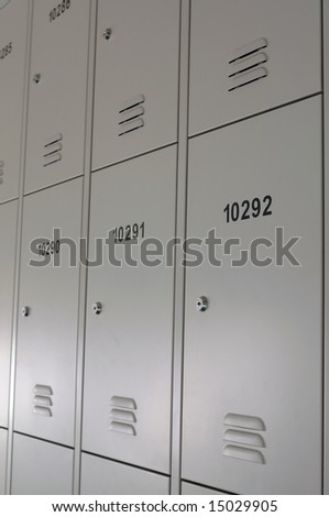 Wall of lockers in school