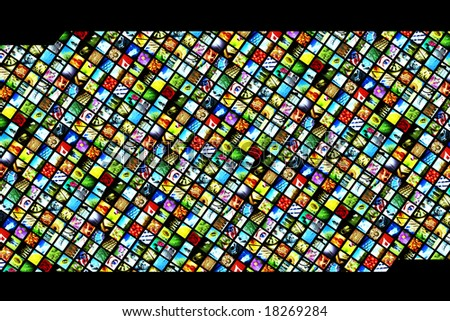 wall of multiple colorful micro screens