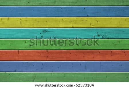 Wall of pine multicolor wood board. Lining closeup, frontally. - stock photo