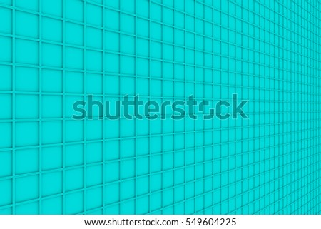 Wall of rectangle tiles, grid of square tiles with diagonal elements, abstract background.3D render illustration